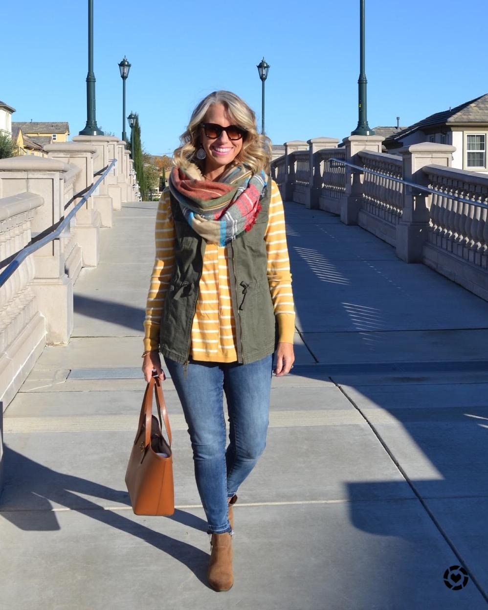 Fall fashion, military vest, mustard, scarf