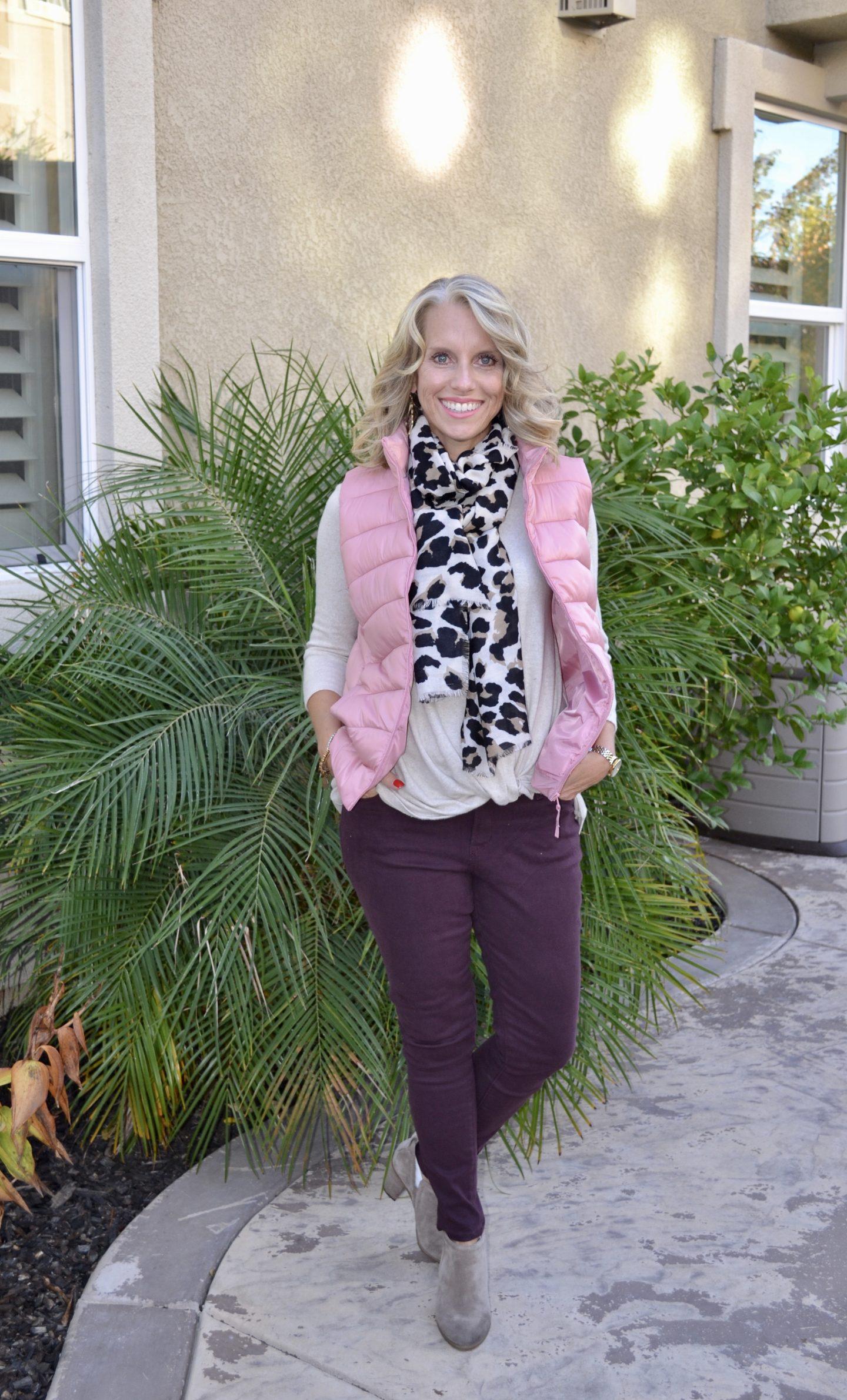 Vests, Leopard scar, burgundy jeans, fall fashion