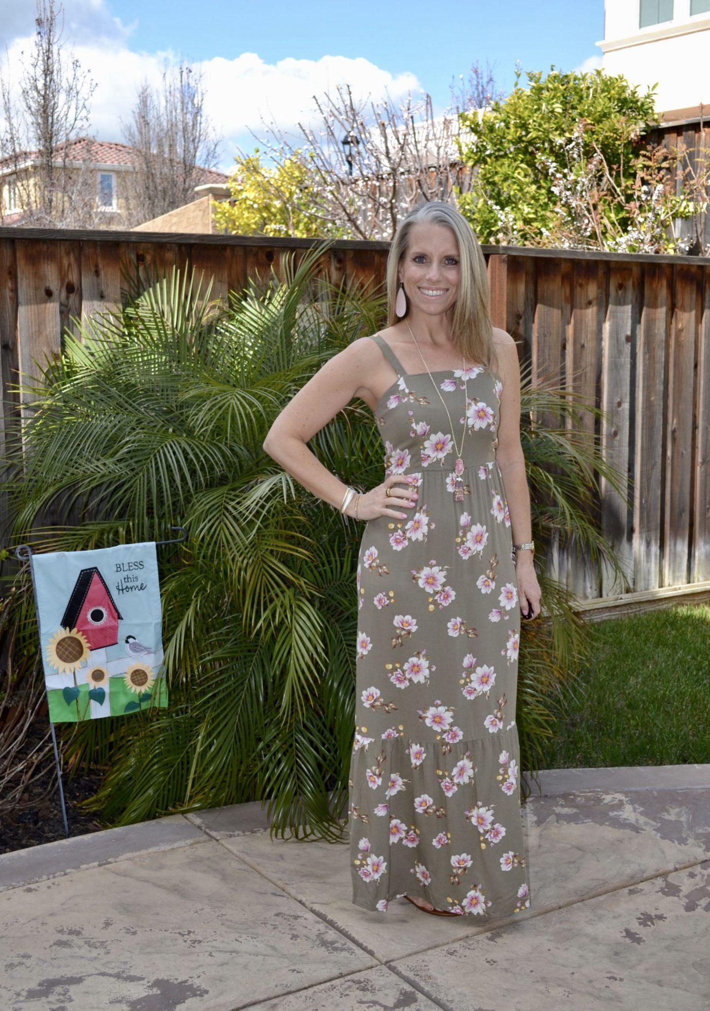 Target Floral Maxi Dress, Nickel & Suede Earrings