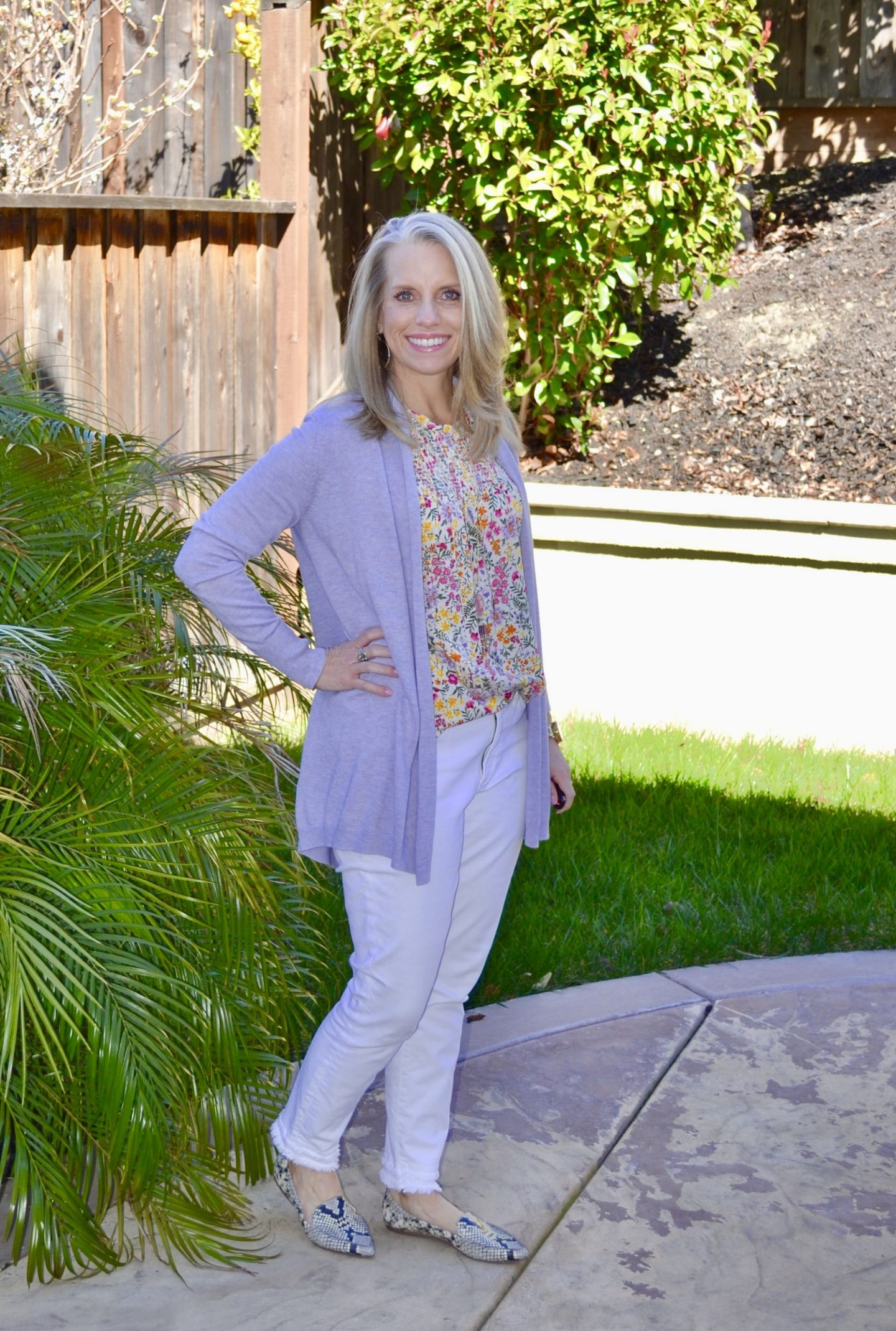 Spring Transition Outfit, Loft sweater, Old Navy top, Loft jeans, Snakeskin shoes