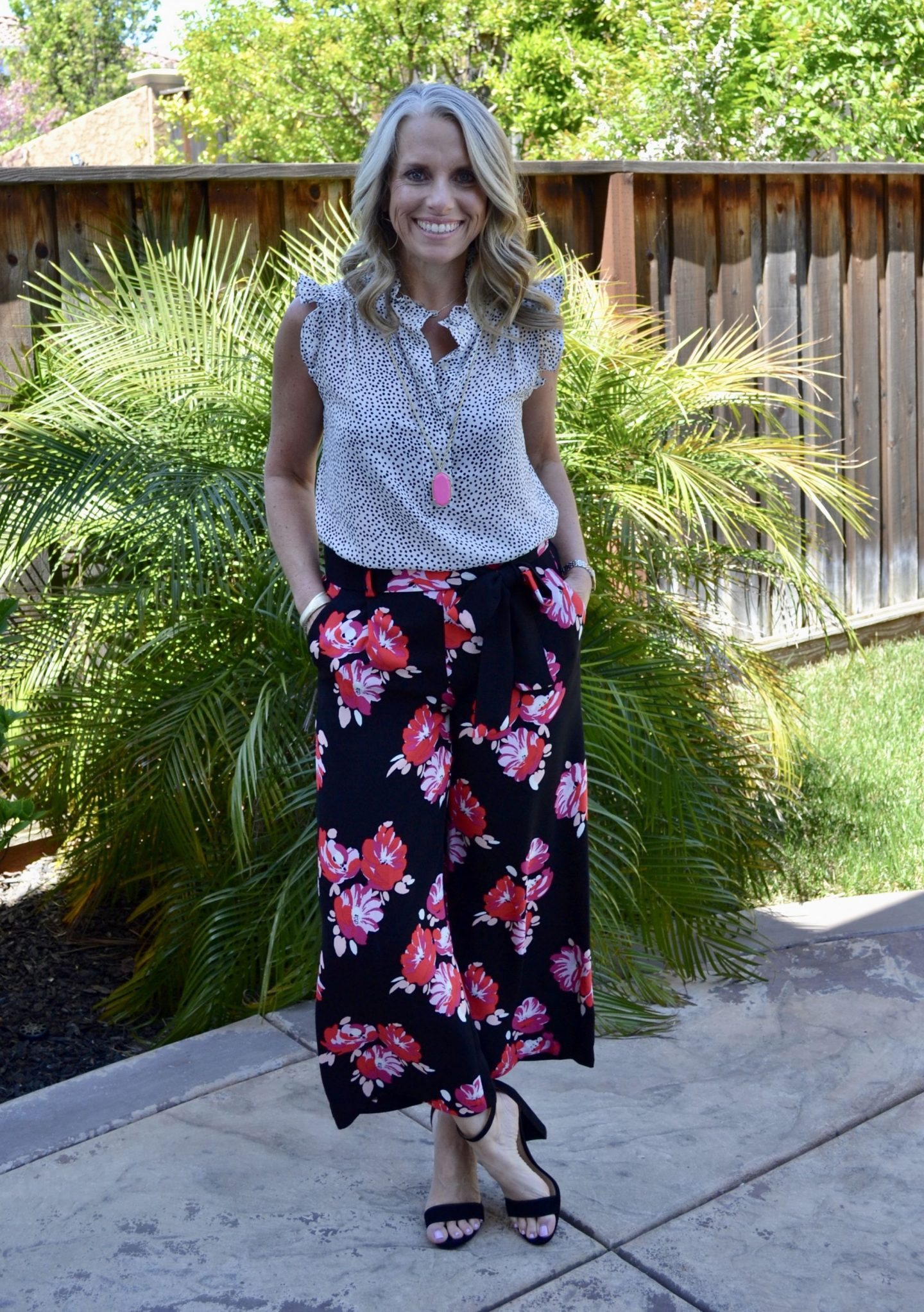 Dotted blouse, floral pants
