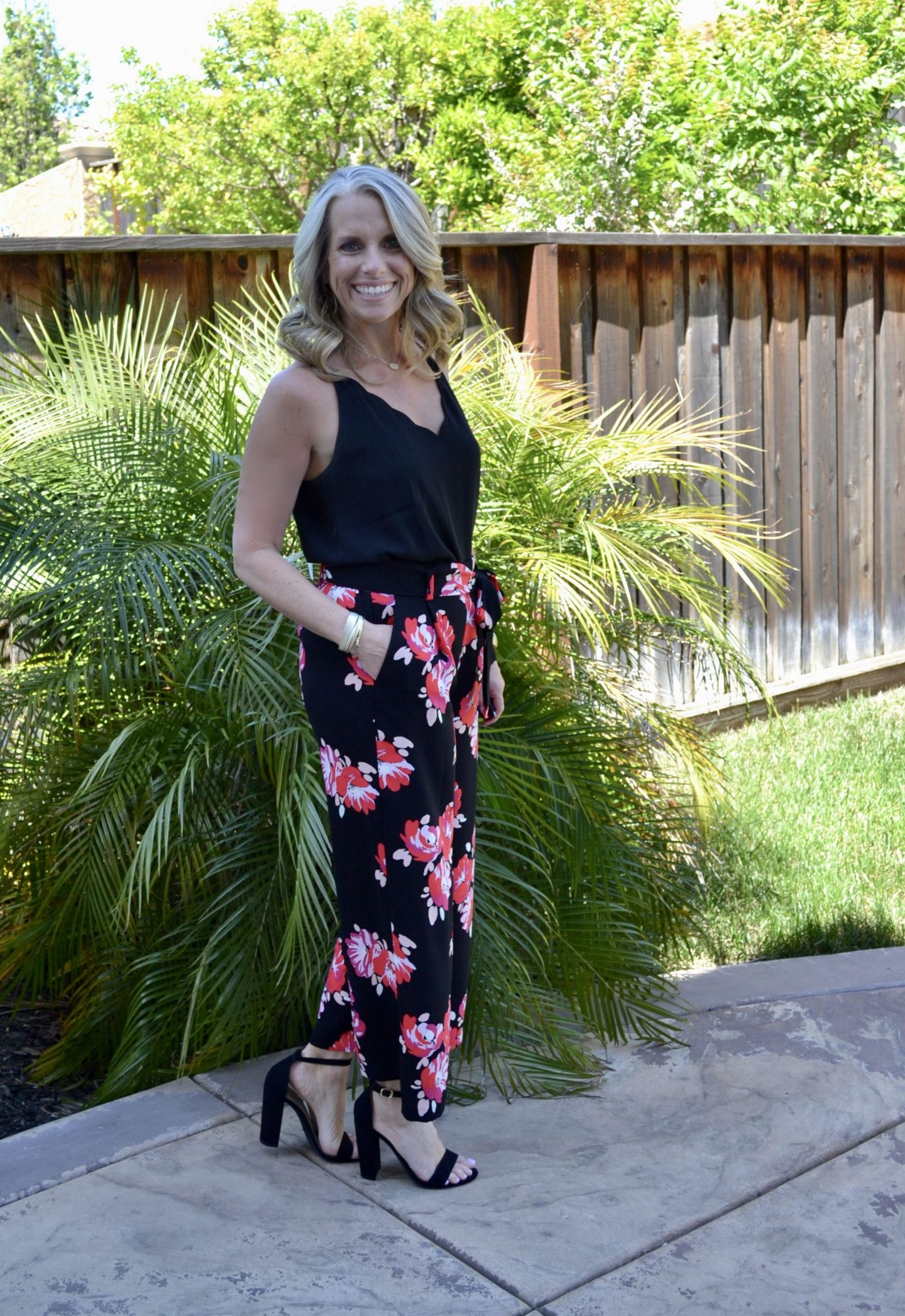 floral pants and black cami