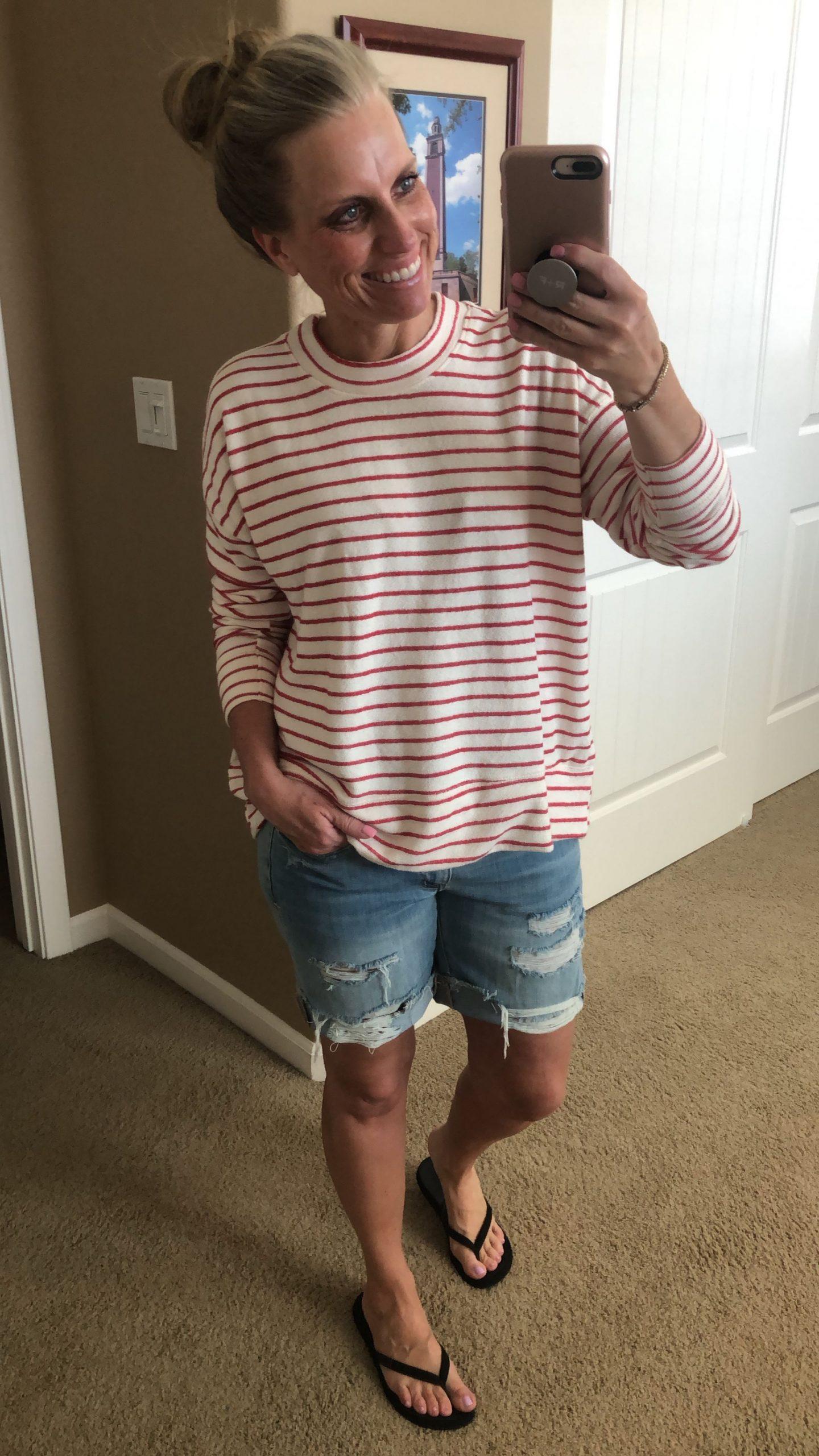 favorite sweatshirt and denim shorts, memorial day sales