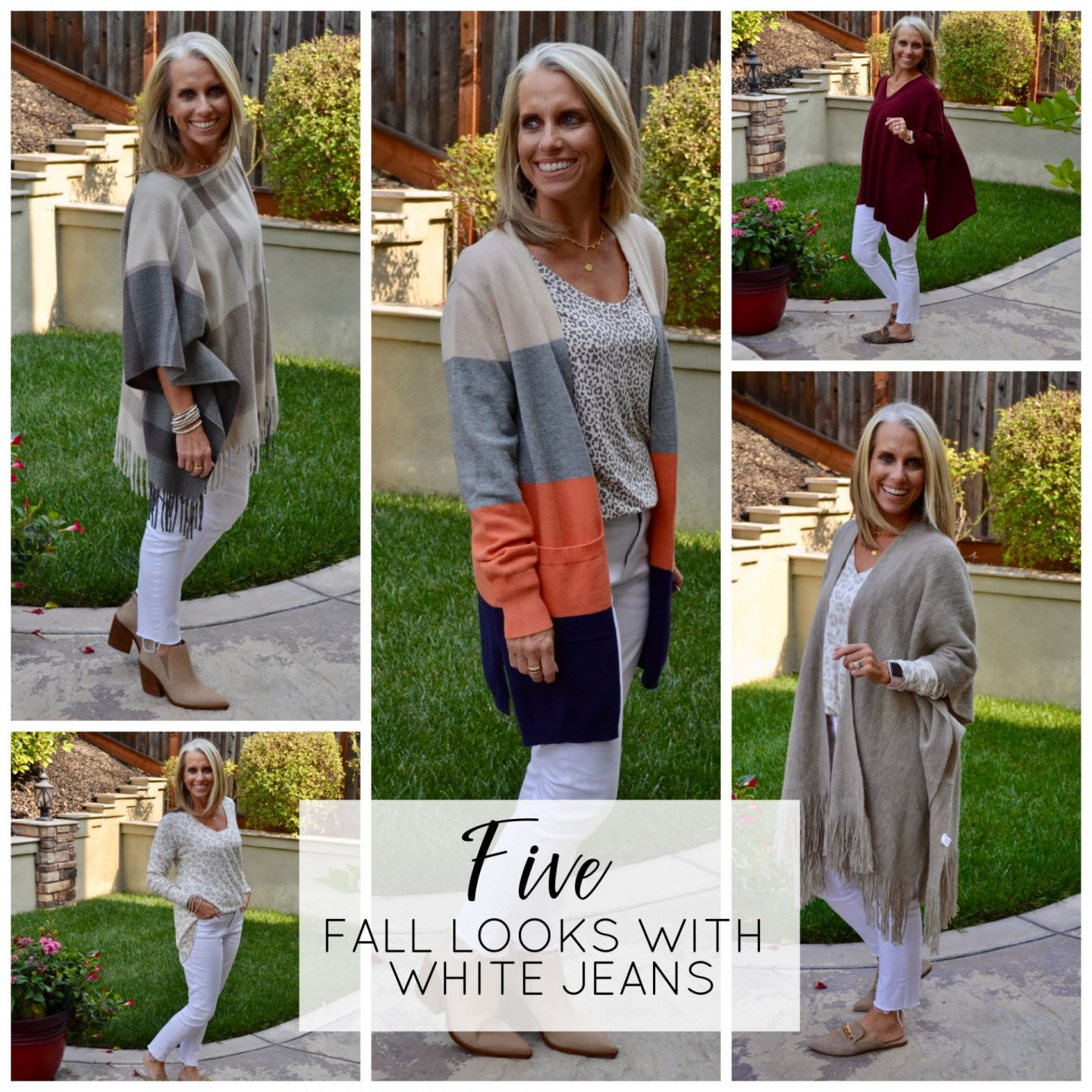 FIVE FALL LOOKS WITH WHITE JEANS