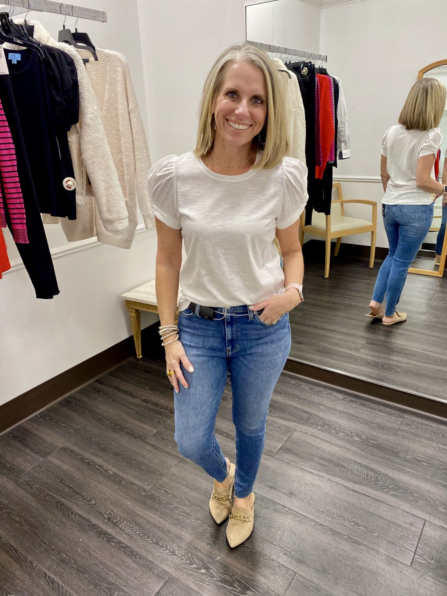 Macy's Try on, white tee