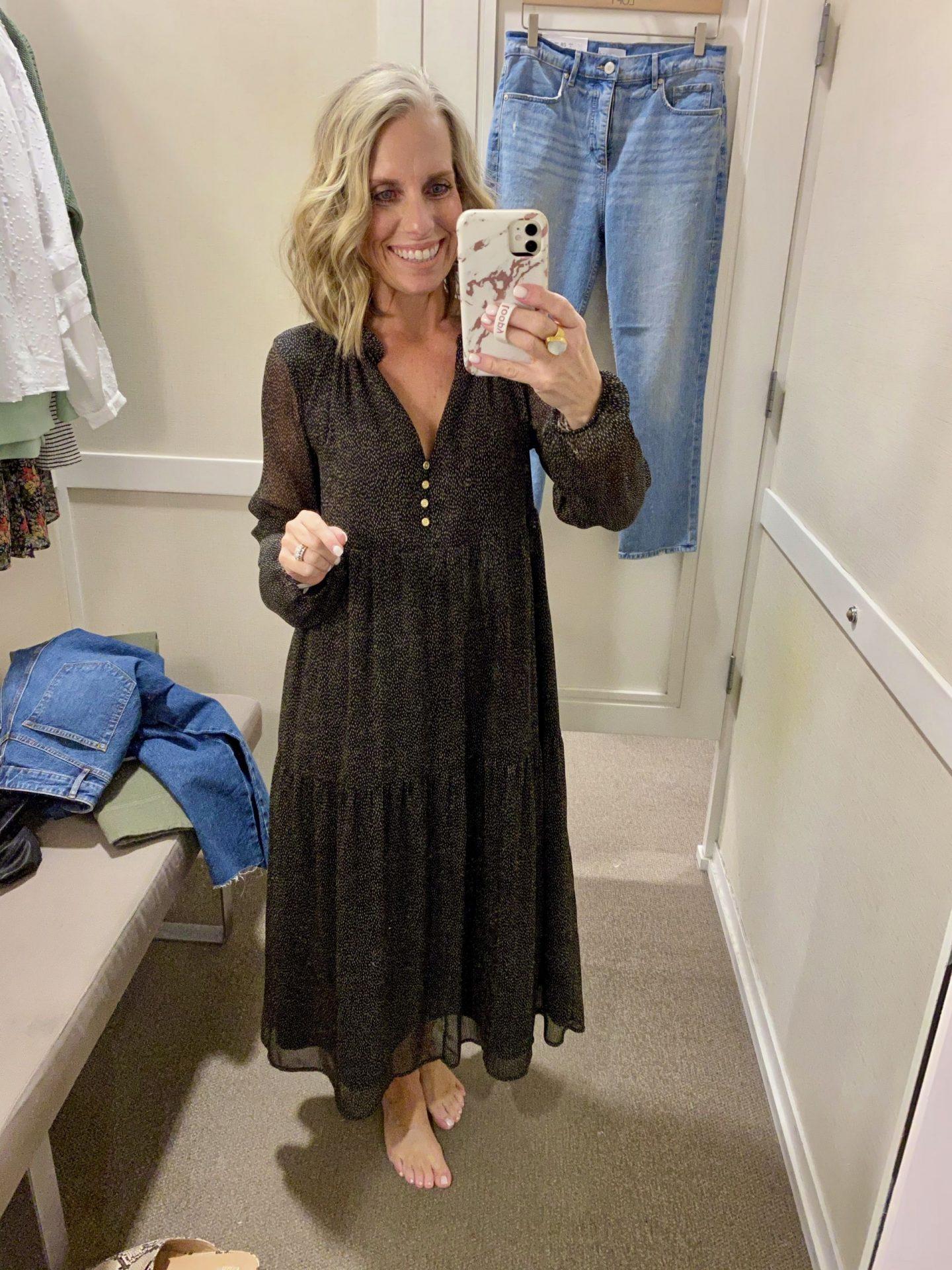 in store Loft try on  midi dress