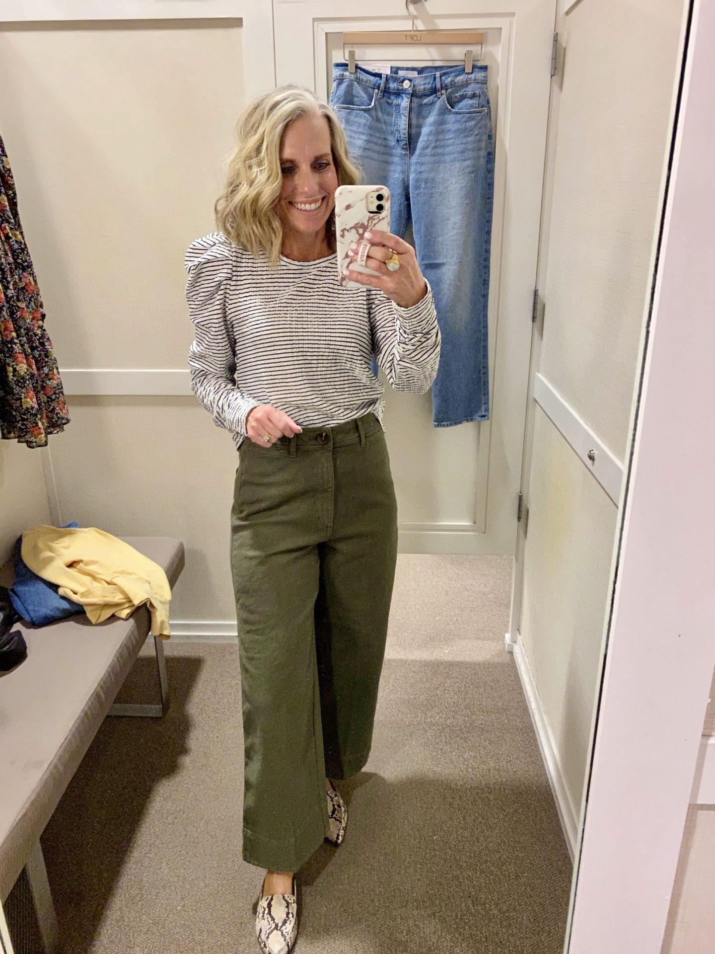 in store Loft try on wide leg pants