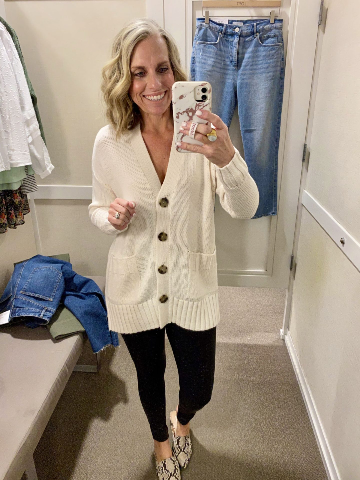 in store loft try on cardigan
