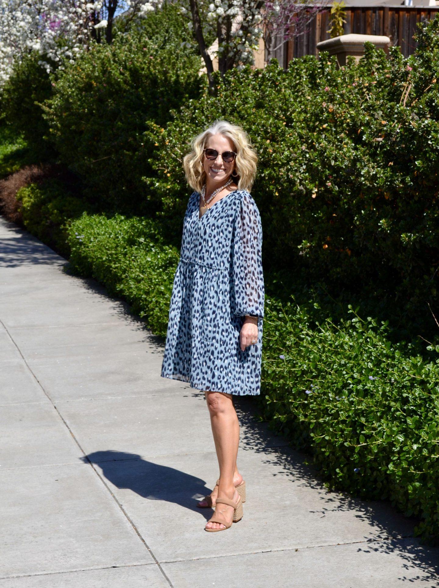 Loft Babydoll Blue Leopard Dress