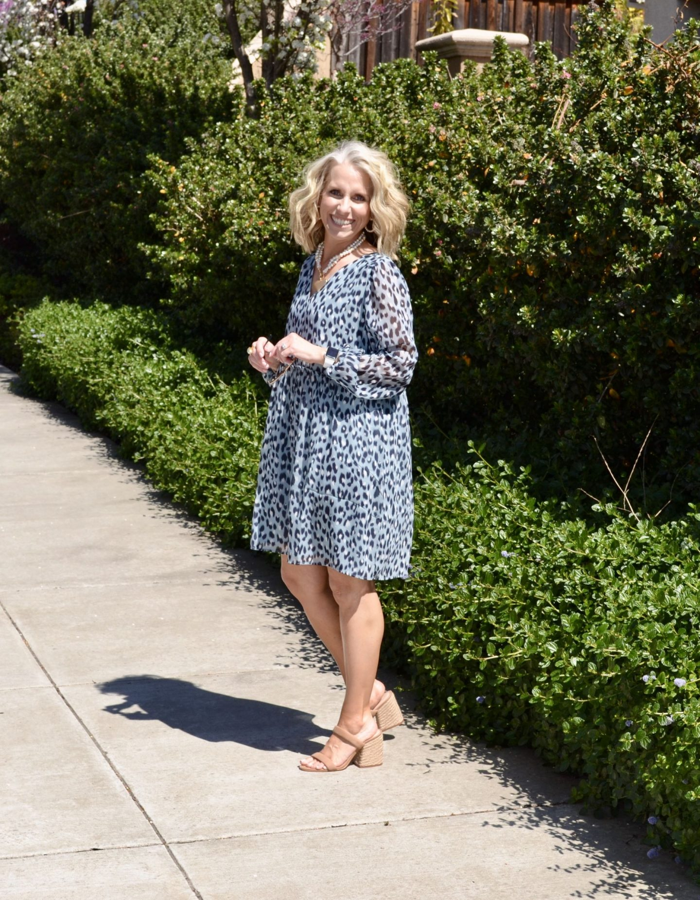 Blue Leopard Babydoll Dress