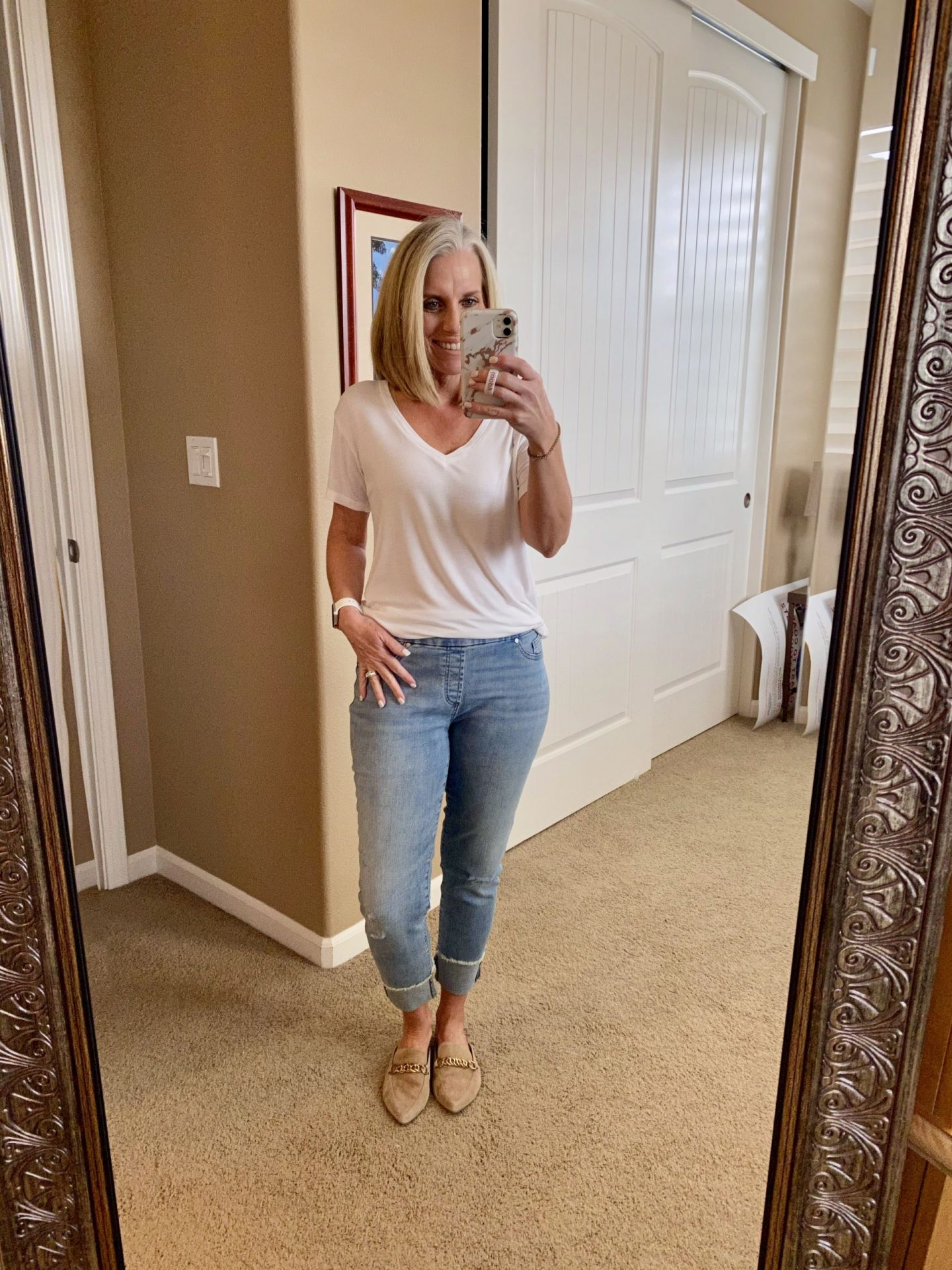 Chico's cropped pull on jeggings for women over 40