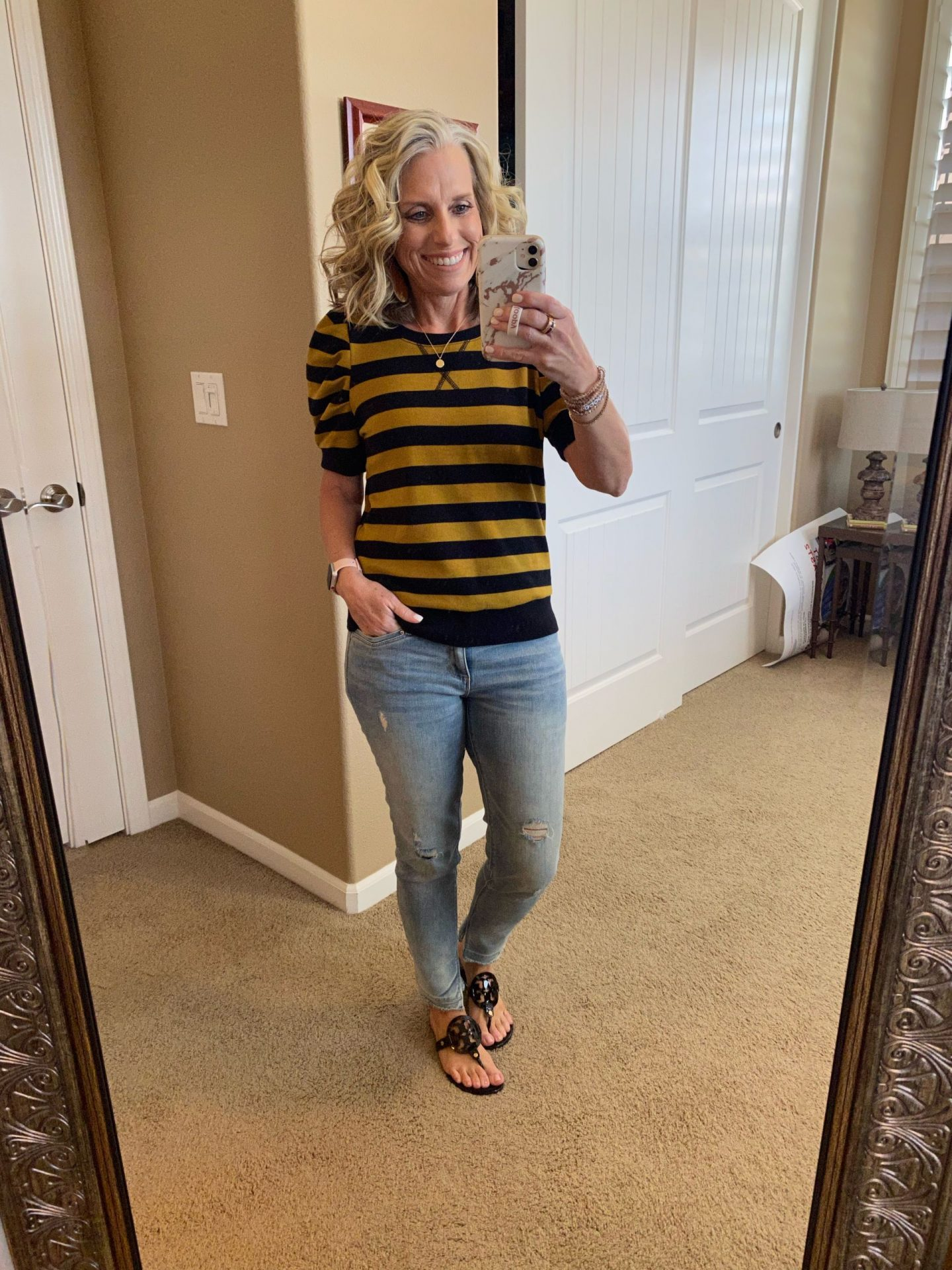 What I've been wearing LATELY Striped sweatshirt